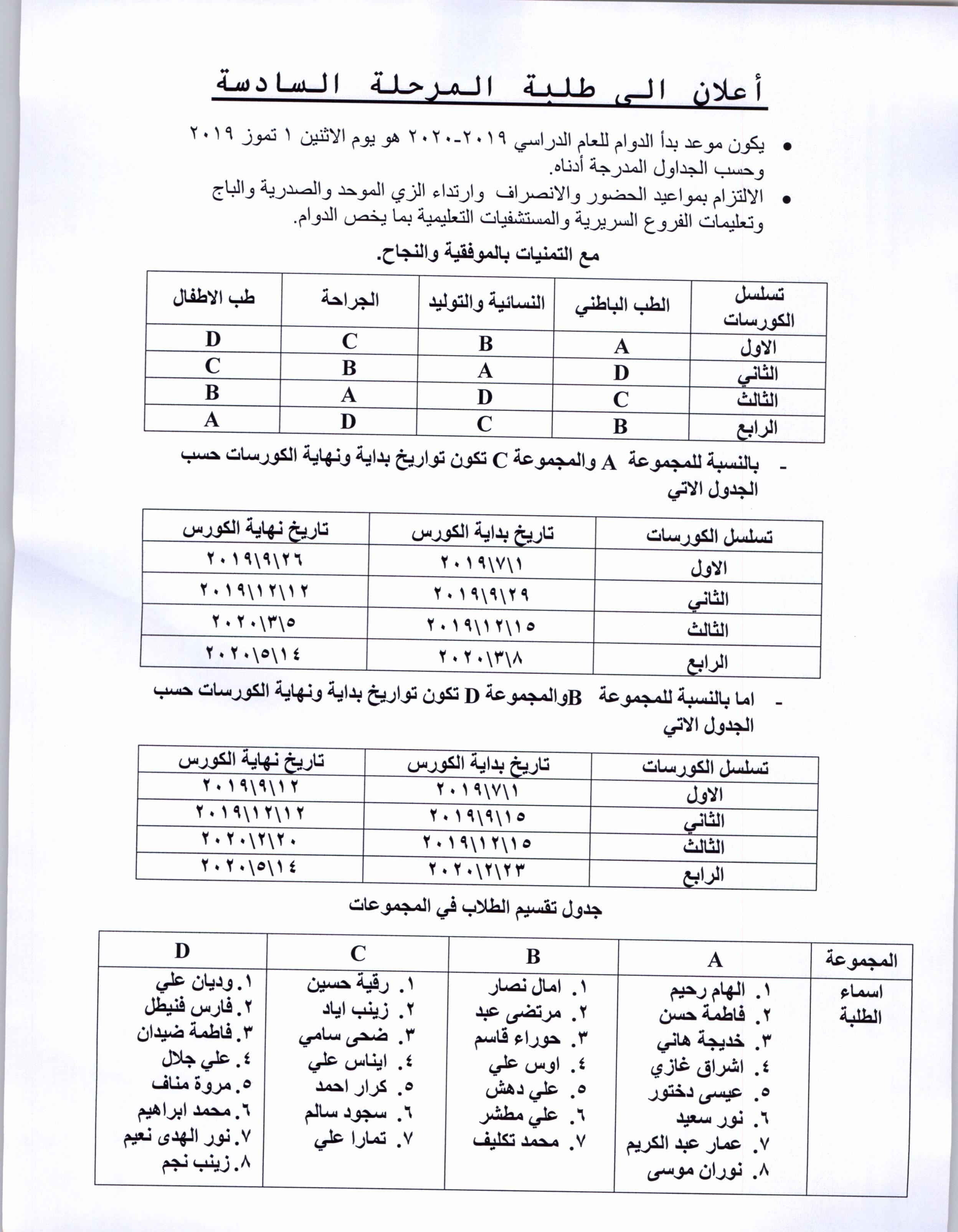 جدول المرحلة السا