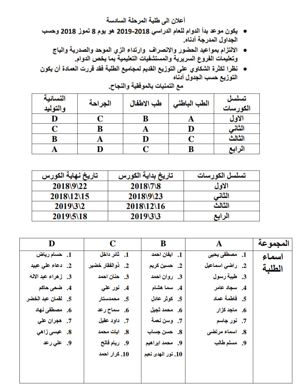 جدول المرحلة السادسة للعام الدراسي 2018 -2019